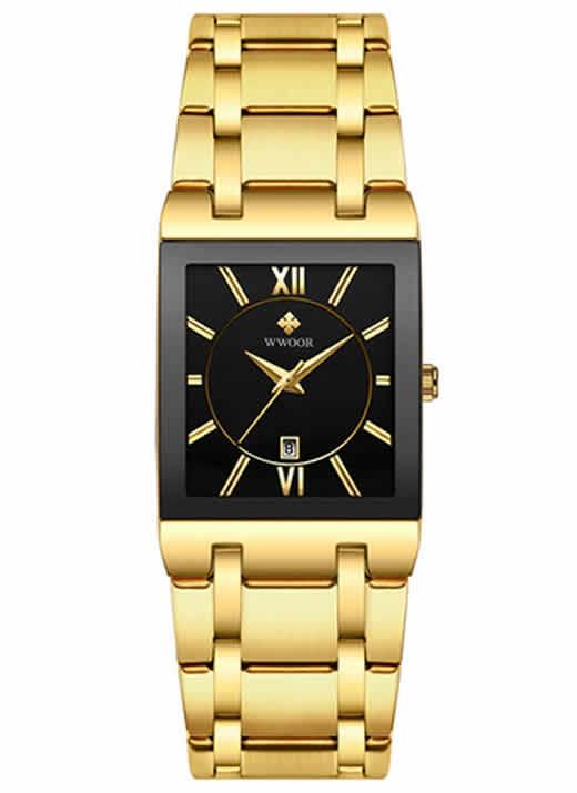 Homens Relógios Top Marca de Luxo WWOOR Ouro Quadrado Preto relógio de Quartzo dos homens 2019 Homens relógios de Ouro Masculino Relógio de Pulso À Prova D' Água