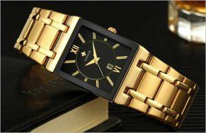 relógio wwoor masculino clock dourado
