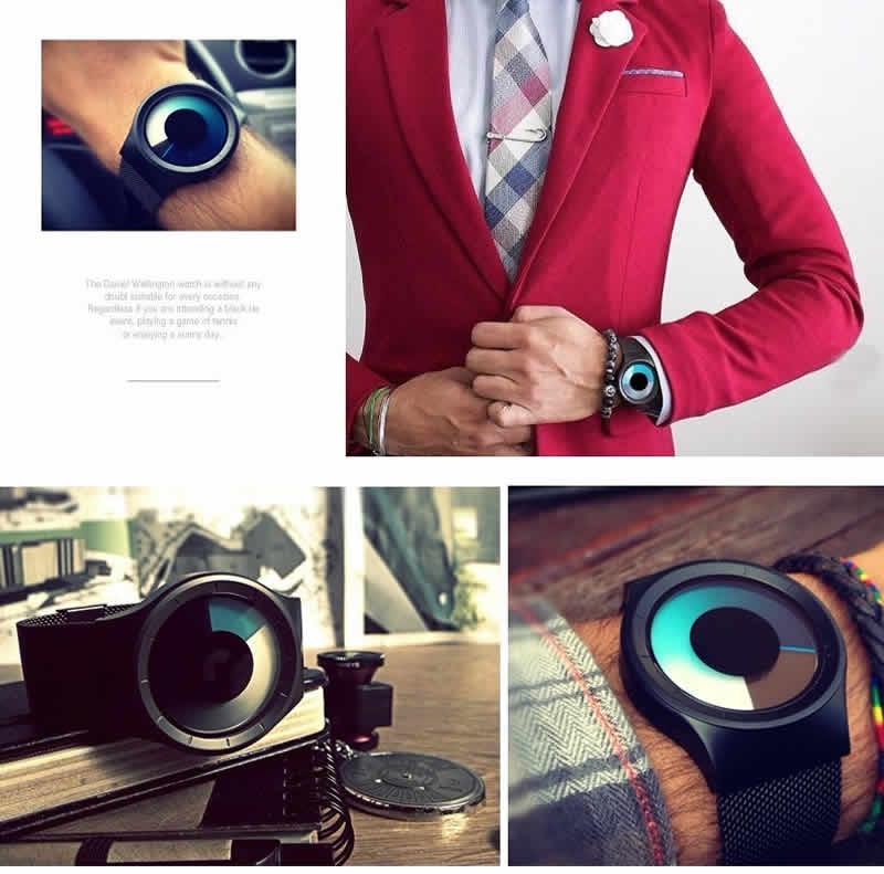 Criativo Quartz Relógios Homens Top Marca de Luxo Casual Relógio Unisex Relógio Banda Malha de aço Inoxidável feminino Masculino