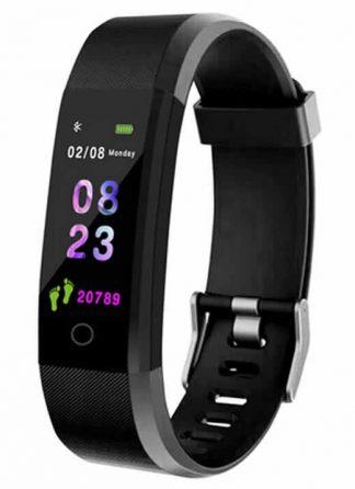 Relógio inteligente Pulseira rastreador de fitness Saúde Pressão Arterial Pulseira para Mulheres Dos Homens À Prova D' Água Preto