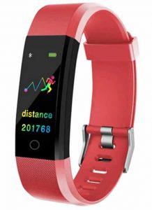 Relógio inteligente Pulseira rastreador de fitness Saúde Pressão Arterial Pulseira para Mulheres Dos Homens À Prova D' Água Vermelho