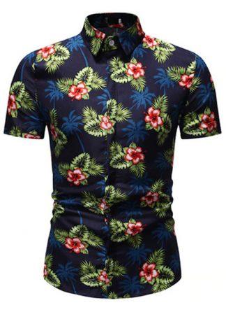 Camisa Florida Havaianas Primavera Verão Azul Escuro C020