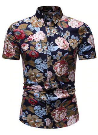 Camisa Florida Havaianas Primavera Verão Marrom C020