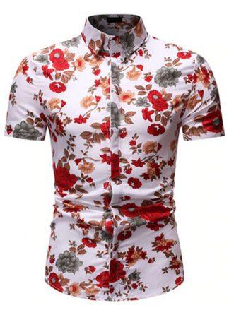 Camisa Florida Havaianas Primavera Verão Vermelha C020