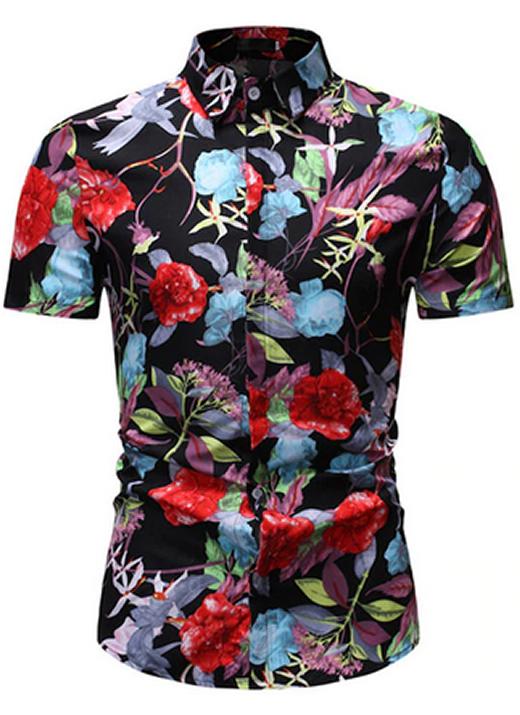 Camisa Florida Havaianas Primavera Verão Azul Escuro Floral C020