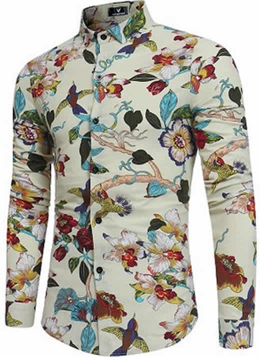 Capa Camisa Floral Havaiana Manga Longa Mjartoria Beija-Flor C021-11