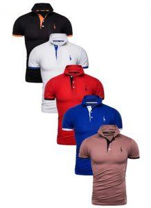 Kit 5 Camisas Polos Masculinas Giraffe – Preto Branca Vermelho Azul e Marrom CPK04-9
