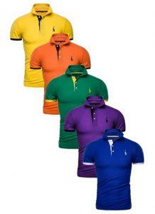 Kit 5 Camisas Polos Masculinas Giraffe – Amarelo Laranja Verde Roxo e Azul CPK04-10