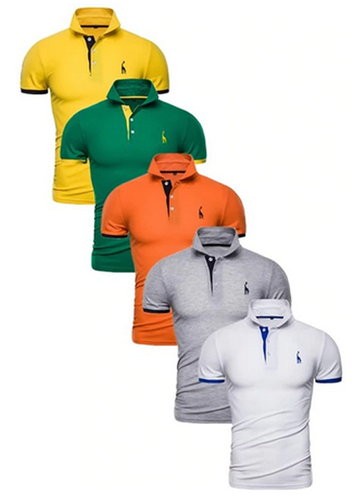 Kit 5 Camisas Polos Masculinas Giraffe – Amarelo Verde Laranja Cinza e Branco CPK04-11