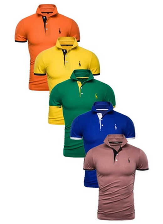 Kit 5 Camisas Polos Masculinas Giraffe – Laranja Amarelo Verde Azul e Marrom CPK04-12