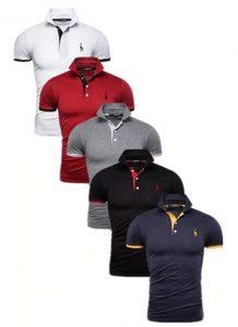 Kit 5 Camisas Polos Masculinas Giraffe – Branco Vermelho Cinza Preto e Azul Marinho CPK04-1