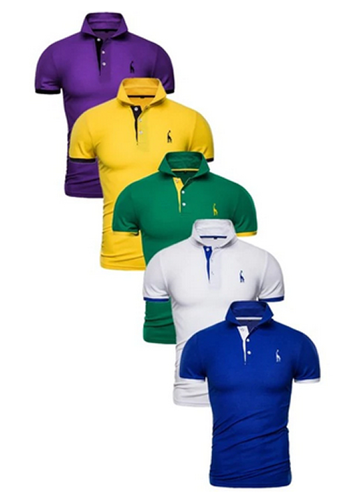 Kit 5 Camisas Polos Masculinas Giraffe – Roxo Amarelo Verde Branco e Azul CPK04-2