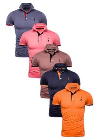 Camisas Polos Masculinas Giraffe – Cinza Rosa Marrom Azul Marinho e Laranja CPK04-3