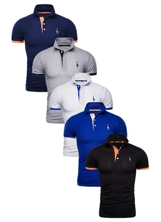 Kit 5 Camisas Polos Masculinas Giraffe – Azul Marinho Cinza Branco Azul e Preto CPK04-4