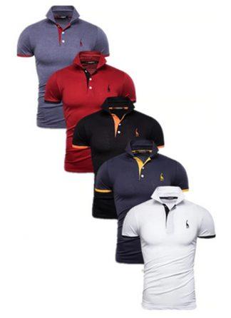 Kit 5 Camisas Polos Masculinas Giraffe – Cinza Vermelho Preto Azul Marinho e Branco CPK04-5