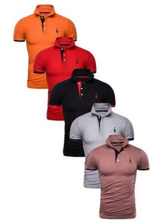 Kit 5 Camisas Polos Masculinas Giraffe – Laranja Vermelho Preto Cinza e Marrom CPK04-6