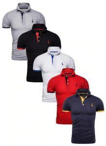 Kit 5 Camisas Polos Masculinas Giraffe – Cinza Preto Branca Vermelho e Azul Marinho CPK04-7