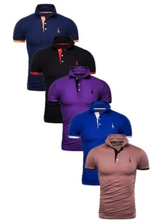 Kit 5 Camisas Polos Masculinas Giraffe – Azul Marinho Preto Roxo Azul e Marrom CPK04-8