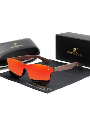 Óculos KingSeven Vermelho Polarizado Hastes Madeira