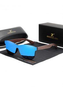 Óculos KingSeven Azul Polarizado Hastes Madeira