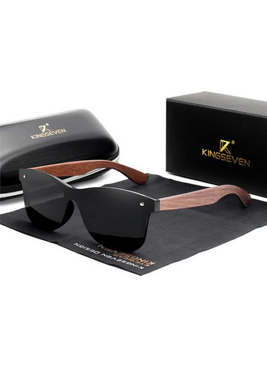 Óculos KingSeven Preto Polarizado Hastes Madeira