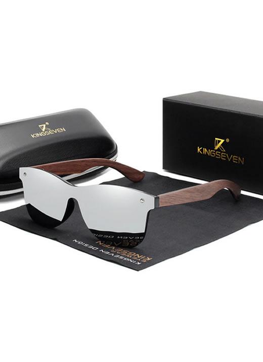 Óculos KingSeven Prata Polarizado Hastes Madeira