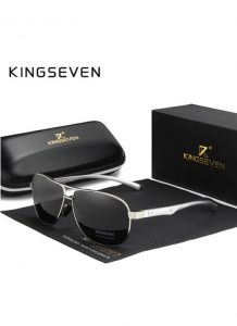 Óculos KingSeven Polarizado HD Prata Original Aviador Mirror