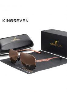 Óculos KingSeven Polarizado HD Marrom Original Aviador Mirror