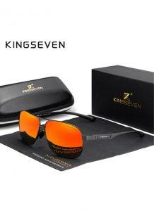 Óculos KingSeven Polarizado HD Preto e Vermelho Original Aviador Mirror