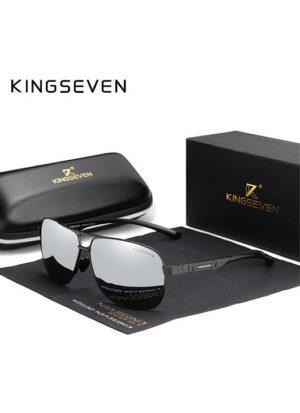 Óculos KingSeven Polarizado HD Preto Prata Original Aviador Mirror