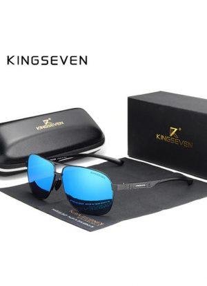 Óculos KingSeven Polarizado HD Preto e Azul Original Aviador Mirror