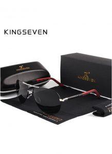 Óculos de sol Masculino Polarizado Magnésio KingSeven N725 Preto Prata