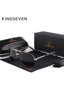 Óculos de sol Masculino Polarizado Magnésio KingSeven N725 Cinza Preto