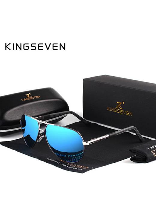Óculos de sol Masculino Polarizado Magnésio KingSeven N725 Azul Preto