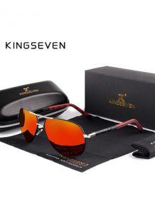 Óculos de sol Masculino Polarizado Magnésio KingSeven N725 Vermelho Preto