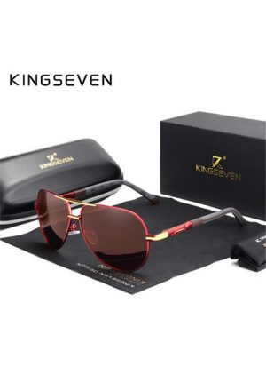 Óculos de sol Masculino Polarizado Magnésio KingSeven N725 Vermelho Marrom