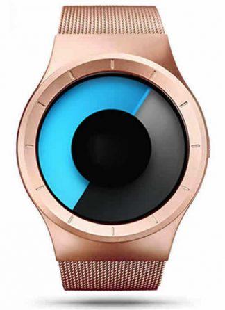 Relógio Futurista Criativo Homens Top Marca de Luxo Casual Relógio Unisex Relógio Banda Malha de aço Inoxidável feminino Masculino 6002 RGU