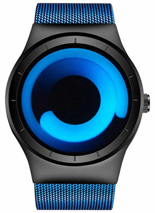 Relógio Futurista Criativo Homens Top Marca de Luxo Casual Relógio Unisex Relógio Banda Malha de aço Inoxidável feminino Masculino 6004 UBU