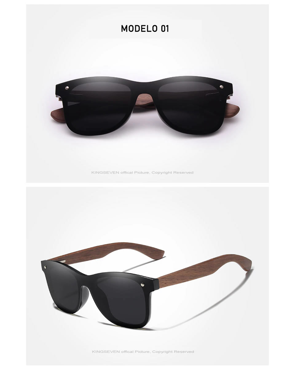 Óculos de Sol Armação em Madeira Sport KINGSEVEN Original Preto