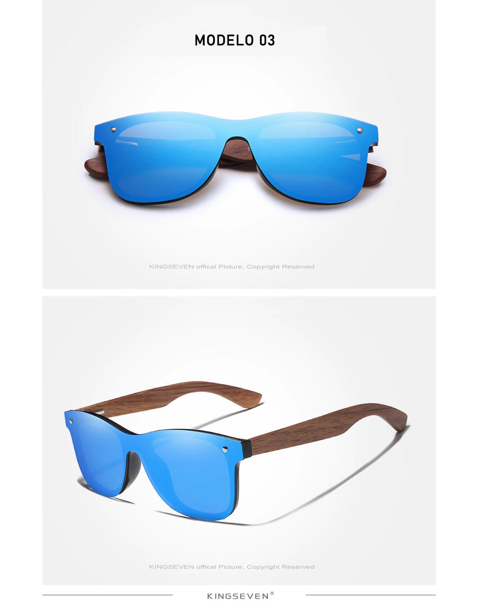 Óculos de Sol Armação em Madeira Sport KINGSEVEN Original Azul