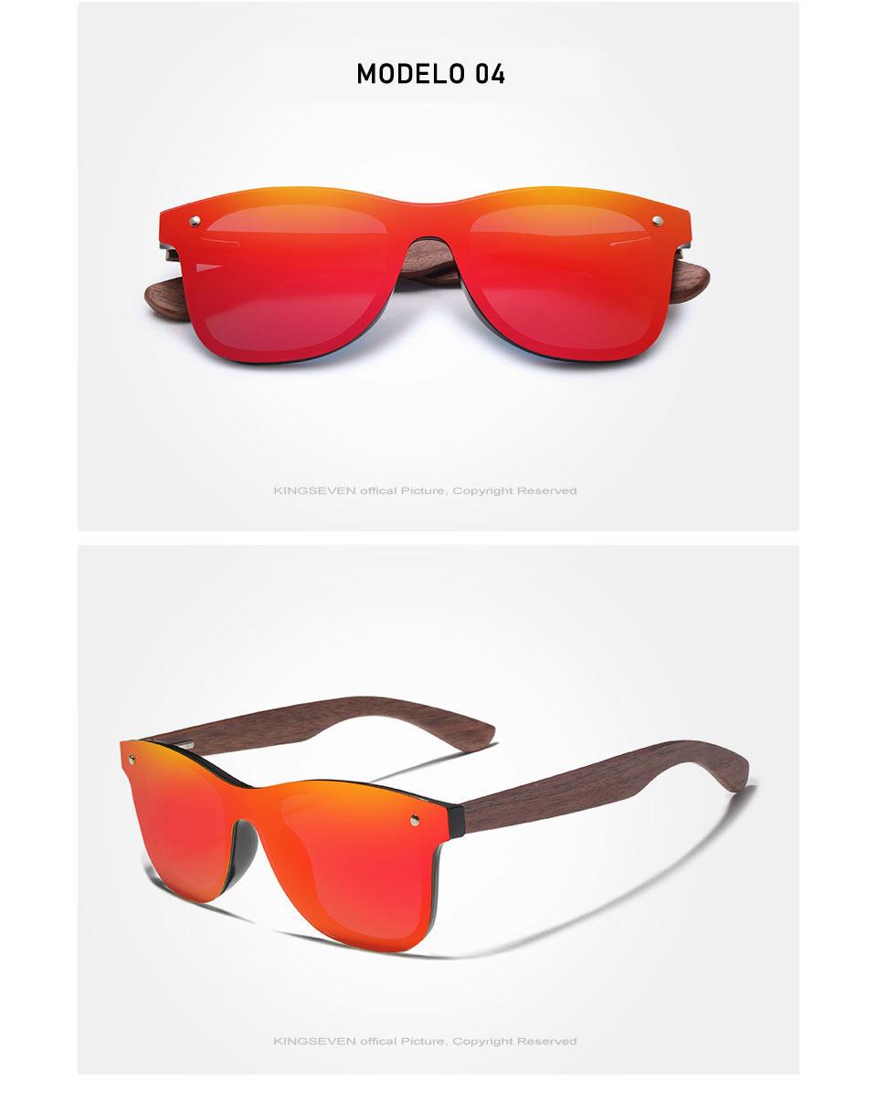 Óculos de Sol Armação em Madeira Sport KINGSEVEN Original Vemelho