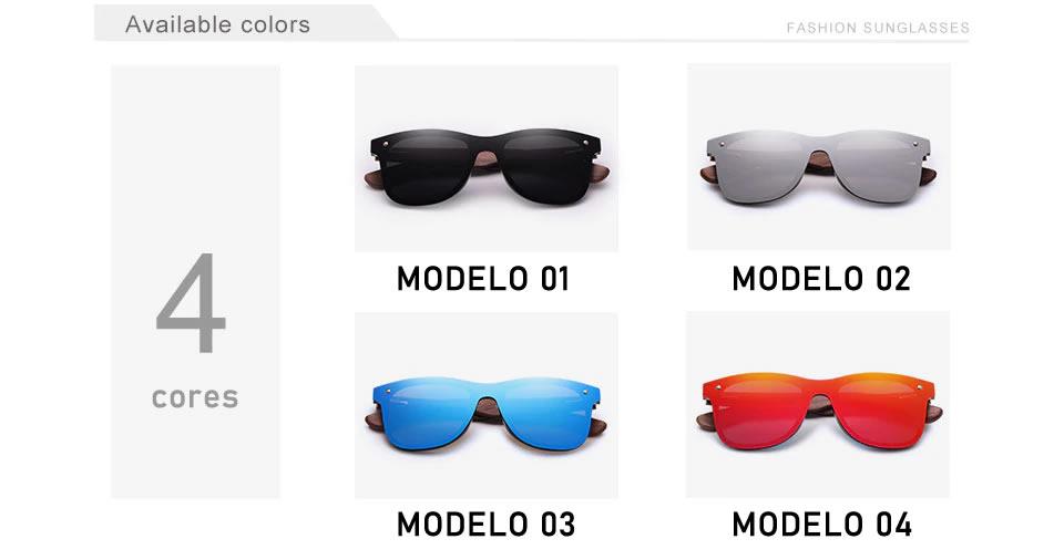 Óculos de Sol Armação em Madeira Sport KINGSEVEN Original Modelos