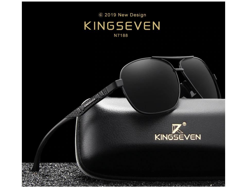 Óculos de Sol Masculino Aviador Original KINGSEVEN Mais Porta Óculos