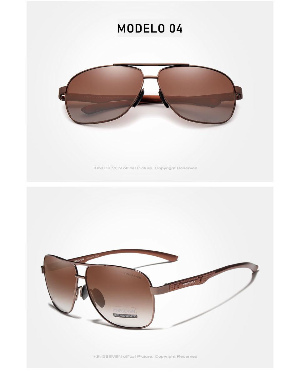 Óculos de Sol Masculino Aviador Original KINGSEVEN Marrom