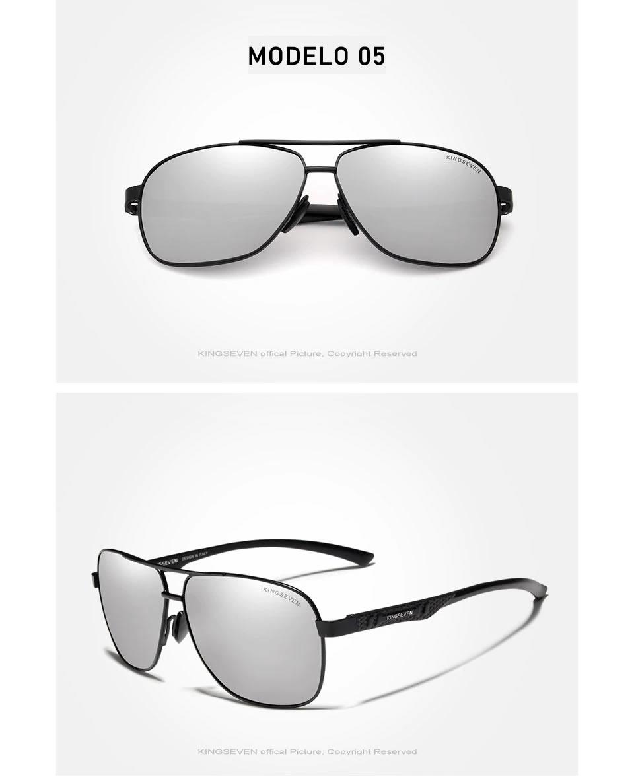 Óculos de Sol Masculino Aviador Original KINGSEVEN Prata