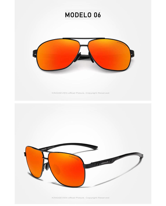 Óculos de Sol Masculino Aviador Original KINGSEVEN Preto Vermelho