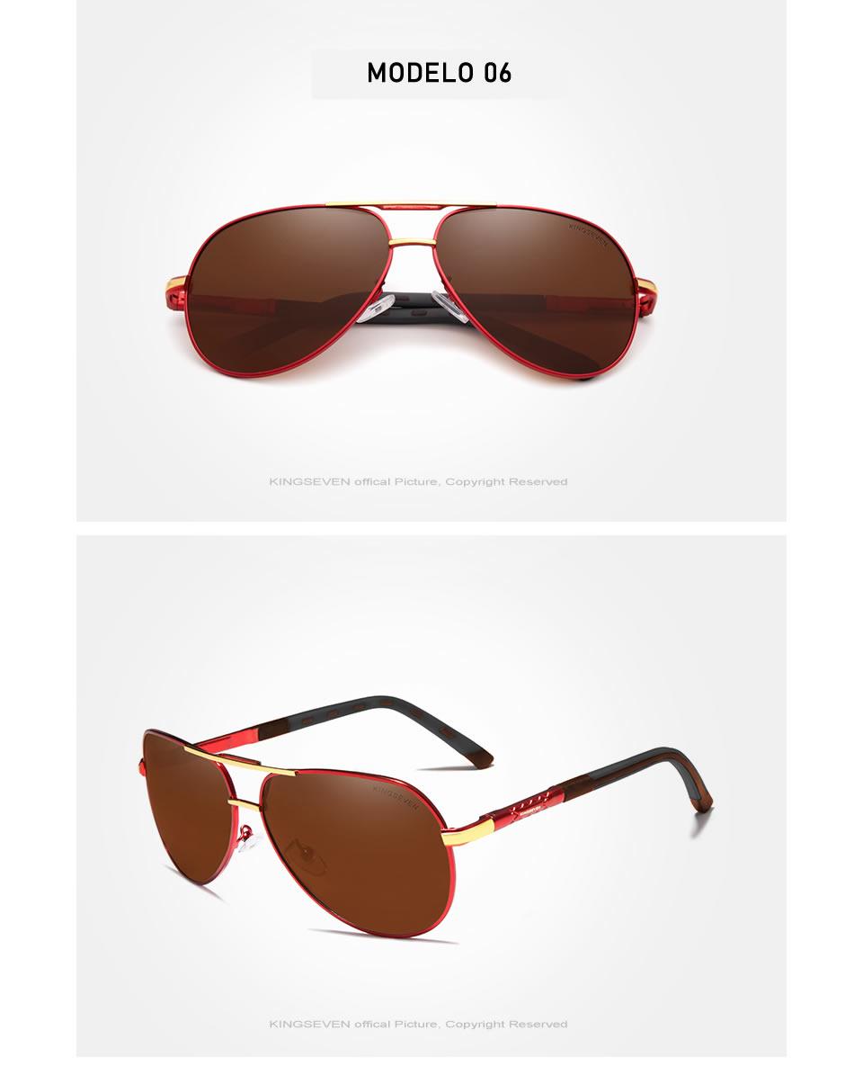 Óculos de sol Masculino Polarizado Magnésio KingSeven N725 Red Marrom