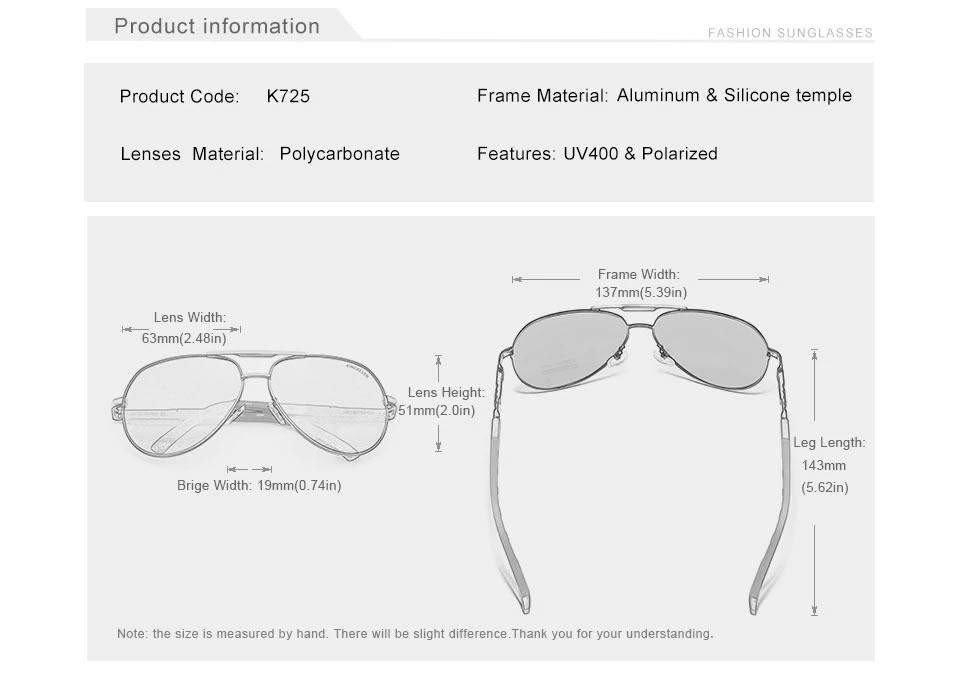 Óculos de sol Masculino Polarizado Magnésio KingSeven N725 Características