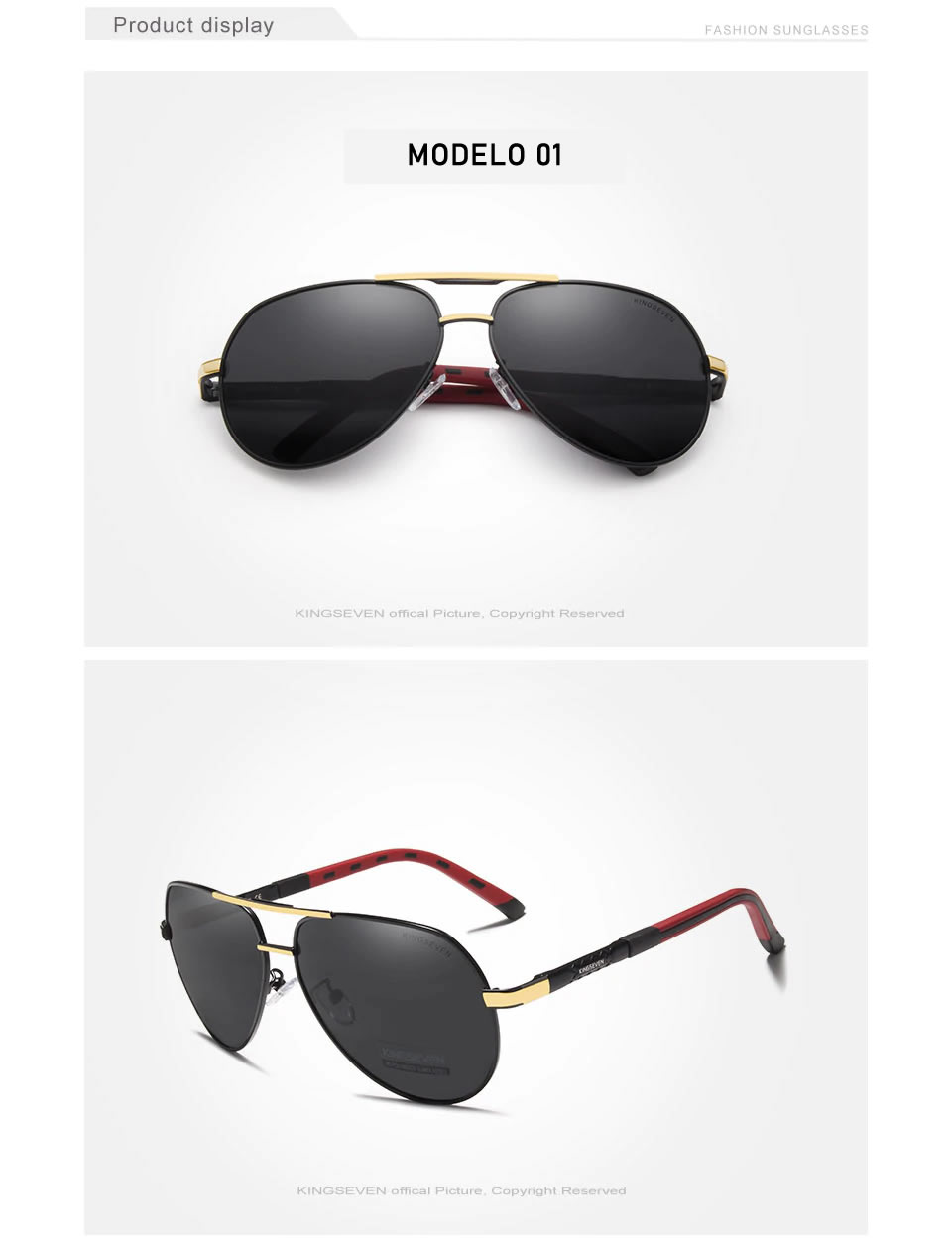 Óculos de sol Masculino Polarizado Magnésio KingSeven N725 Ouro Preto