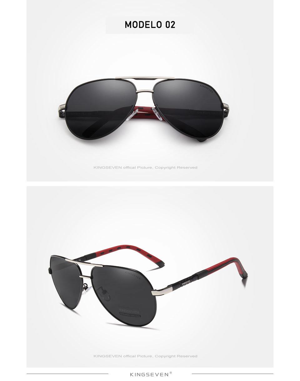 Óculos de sol Masculino Polarizado Magnésio KingSeven N725 Prata Preto